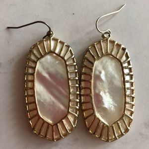 Kendra Scott Pearl Dangle Earrings w/ Gold Detail
